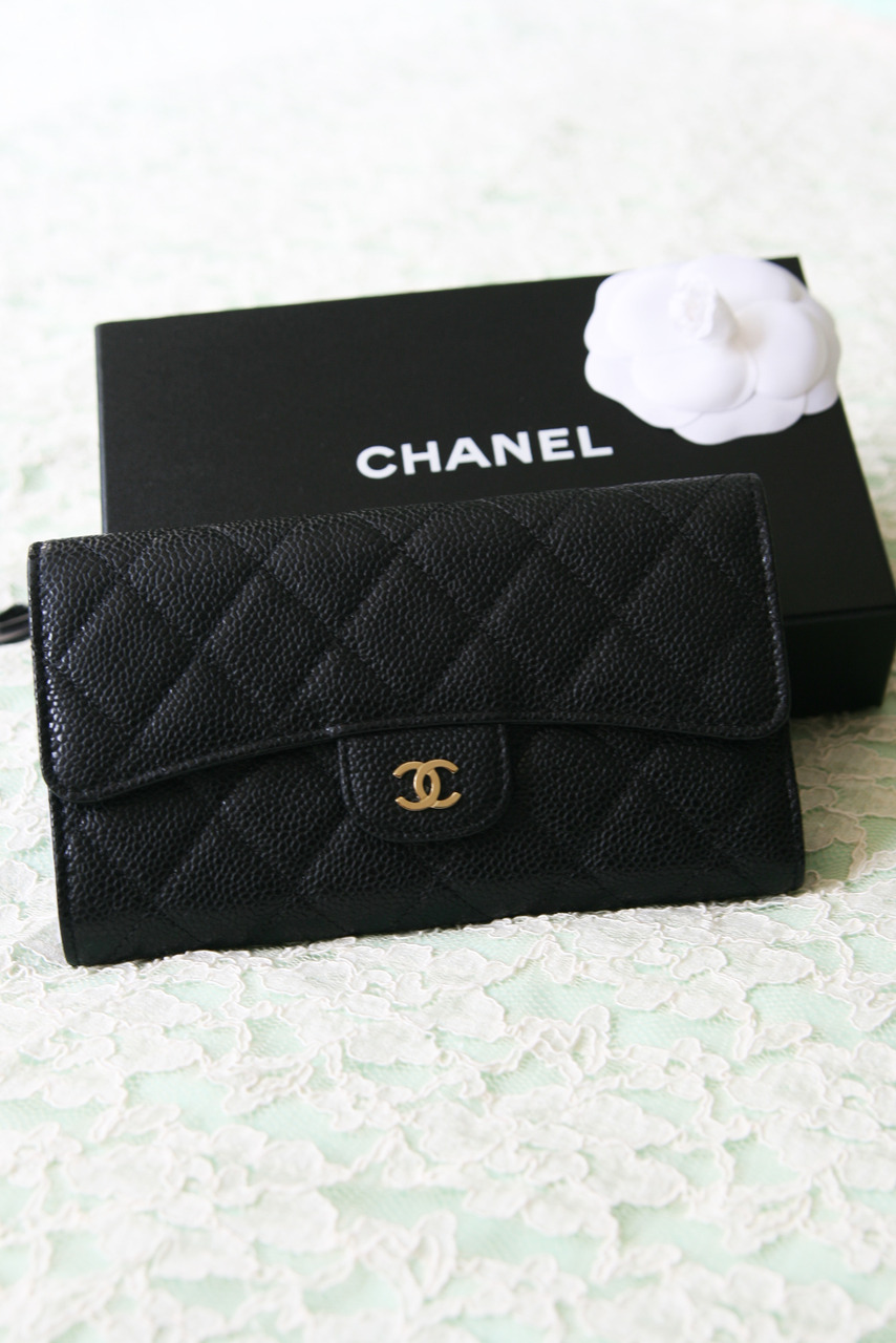 9d86785657012a Authentic Chanel Black Caviar Quilted Leather Tri-Fold Wallet New ...