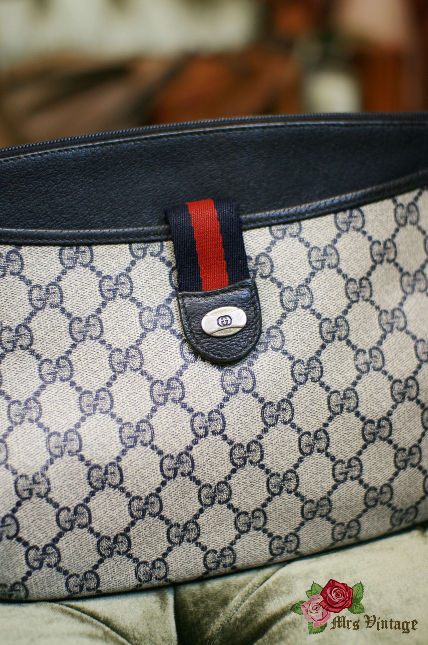 088aa8a47d95ae Vintage GUCCI Navy Monogram Clutch Purse - Mrs Vintage - Selling ...