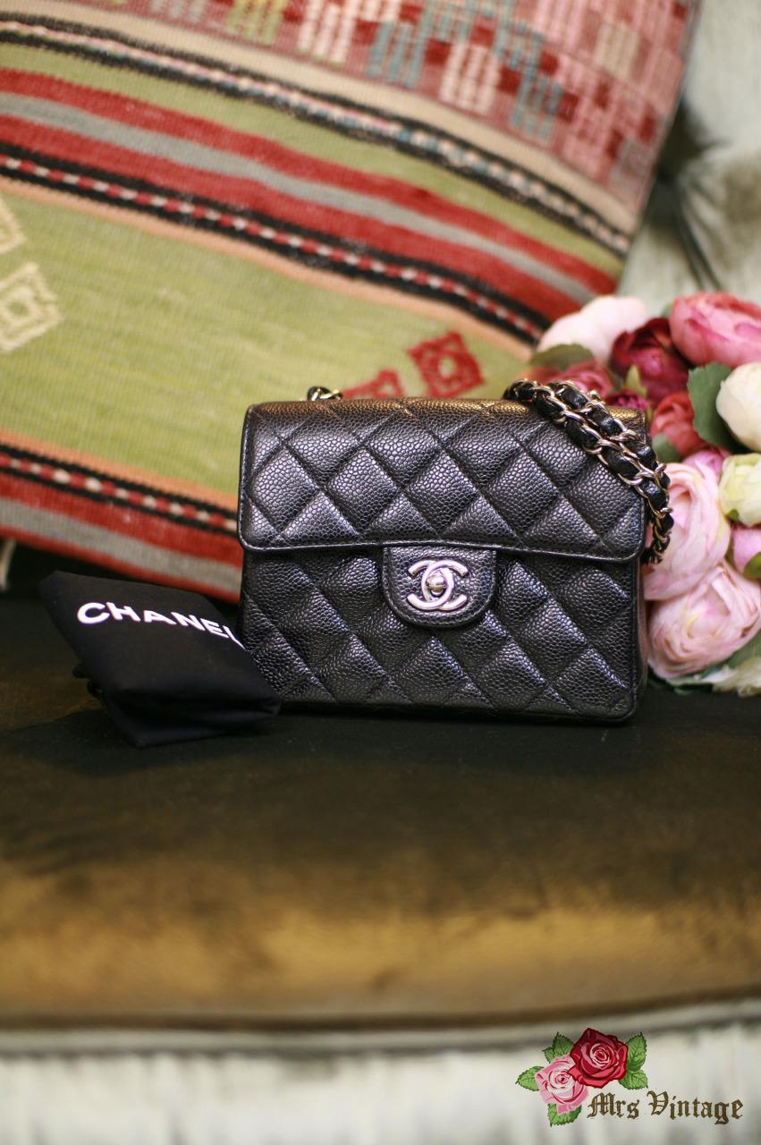 97a0b61e04db Authentic Pre Owned CHANEL Black 2.55 Square Mini Caviar Flap Bag Silver  Chain