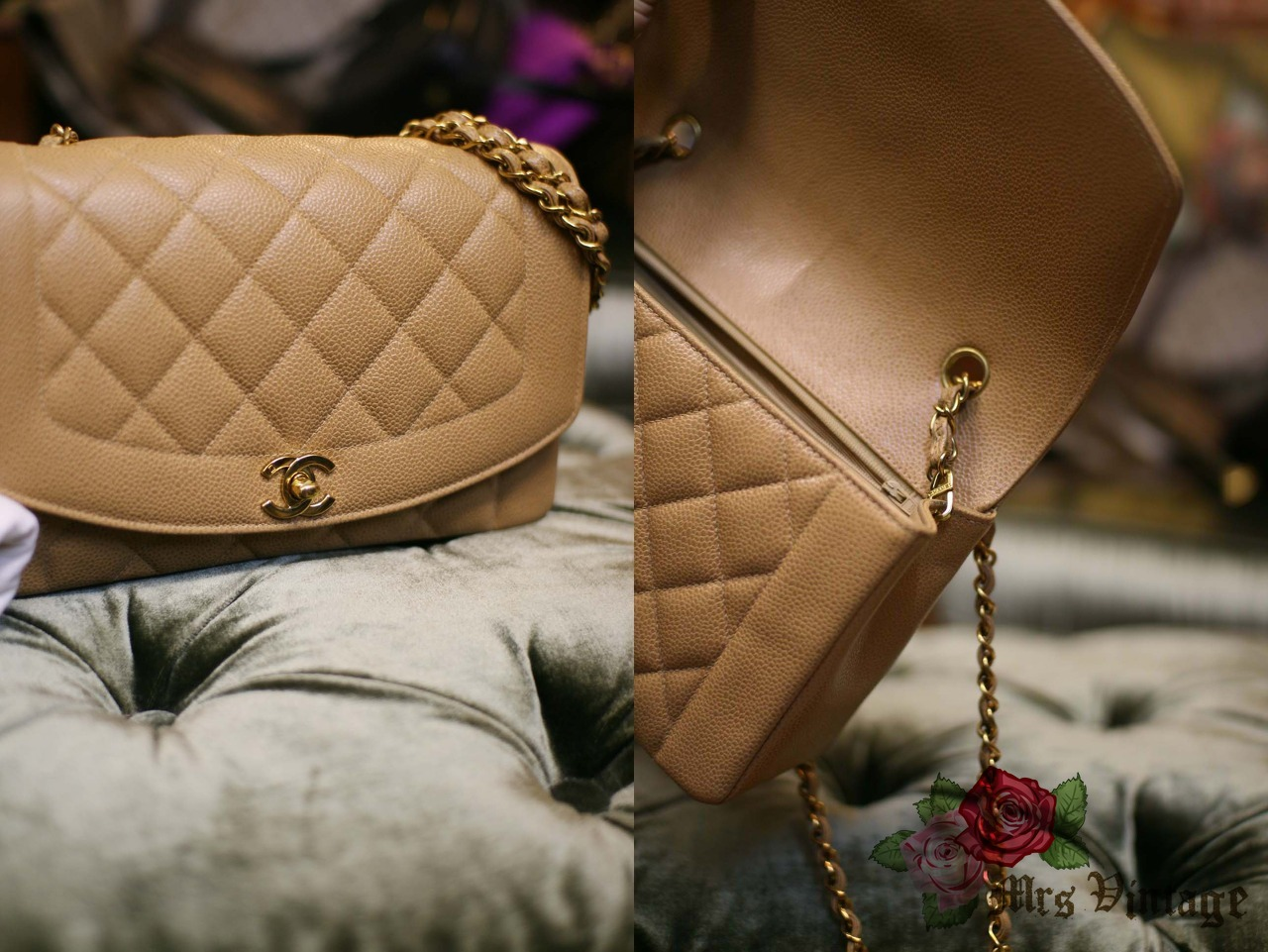 Chanel Caviar BEIGE Vintage Quilted Classic Diana Flap Bag RARE ... 7db59d7eafd61