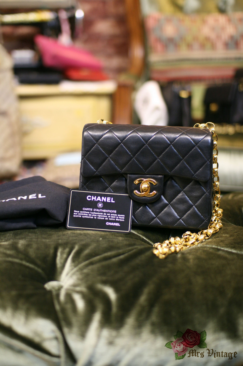 7e41278d2bcb1a Vintage Chanel 7inch Mini Square Flap Black Quilted Lambskin Leather  Shoulder Bag Golden Chain RARE