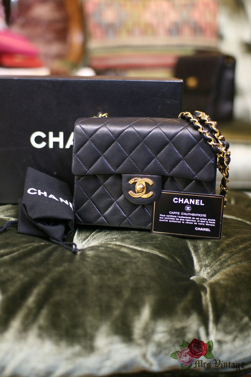 f3f39cd832e94d Vintage Chanel 7inch Mini Square Flap Black Quilted Lambskin Leather  Shoulder Bag