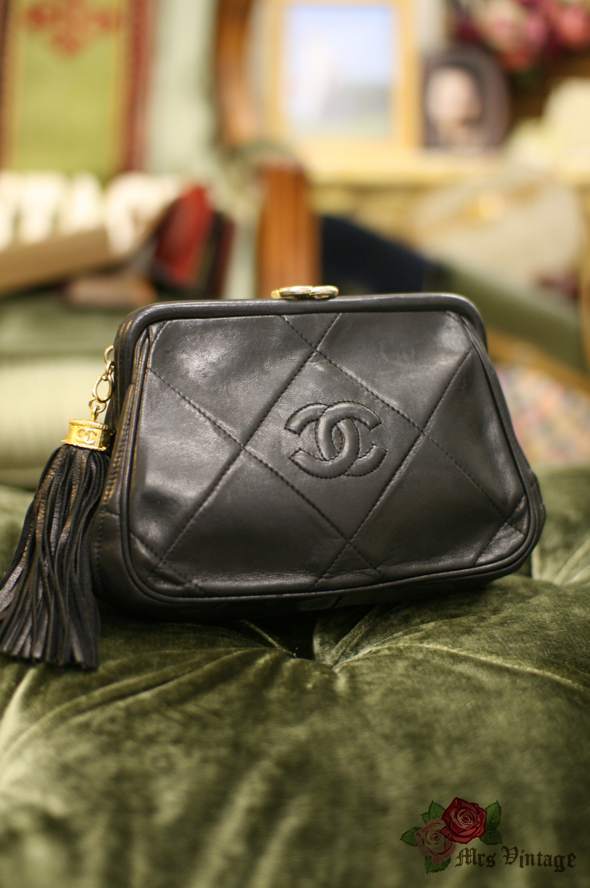 64ee644f4d8b Vintage Chanel Black Lambskin Small Clutch with Leather Fringe - Mrs ...