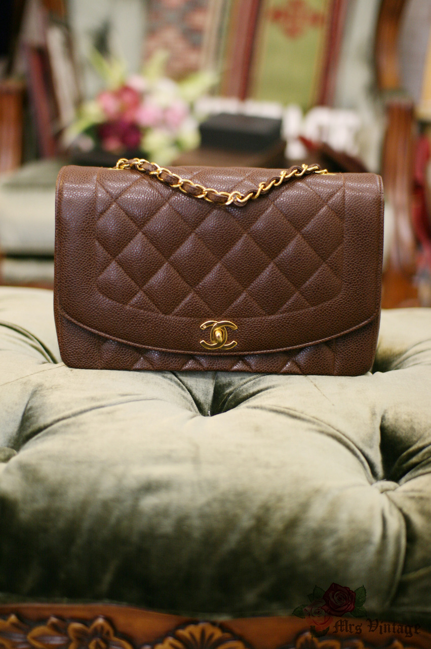 51f107a35fbf32 Vintage Chanel Classic Brown Caviar Quilted Leather Shoulder Flap Bag 25cm  RARE