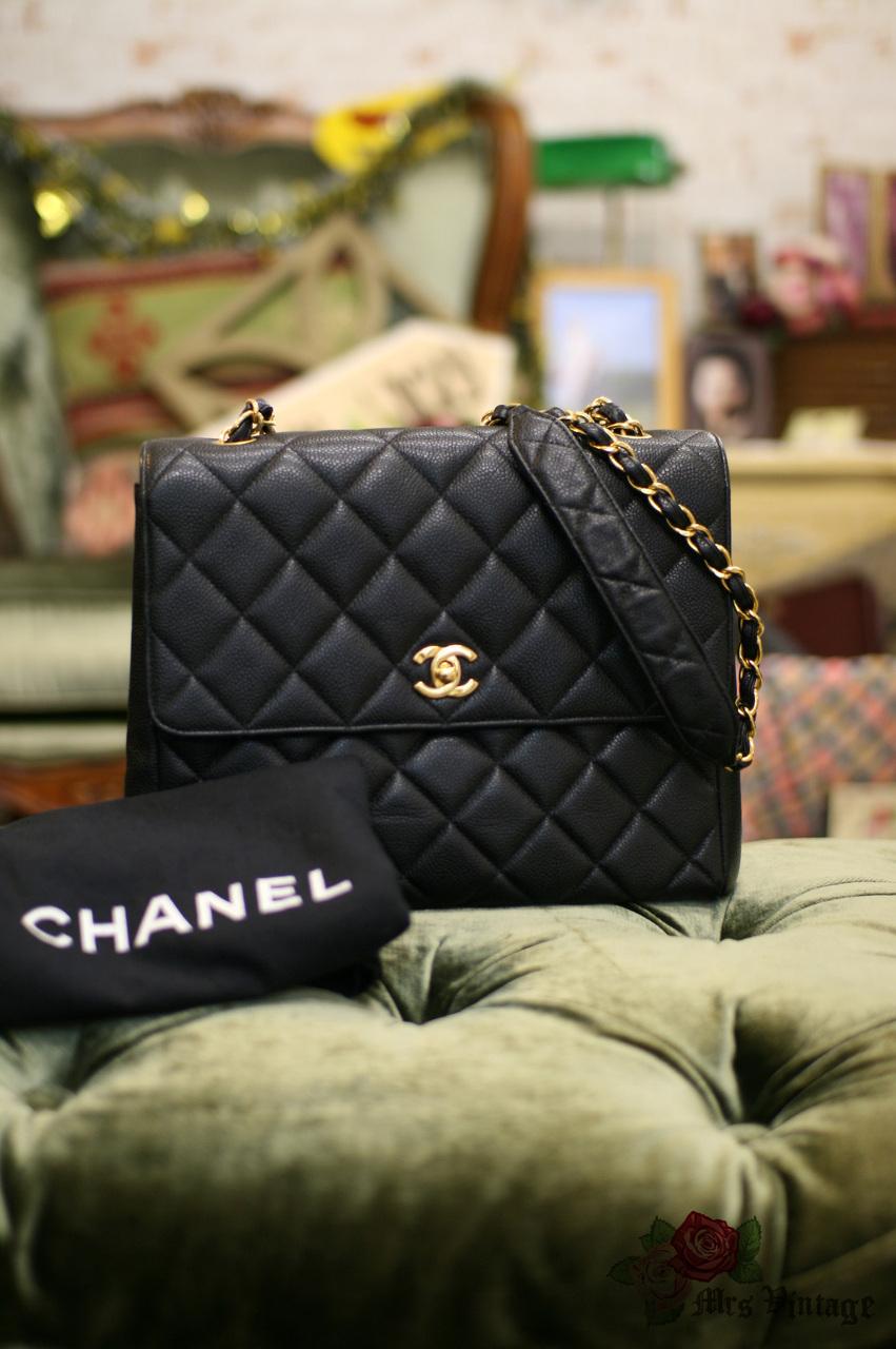 02a0f11507c2 Vintage Chanel Large Black Quilted Caviar Leather Shoulder Flap Bag Rare  27cm Wide