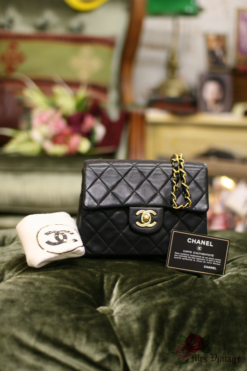 d425b5b37f46 Vintage Chanel 7inch Mini Square Flap Black Quilted Lambskin Leather  Shoulder Bag