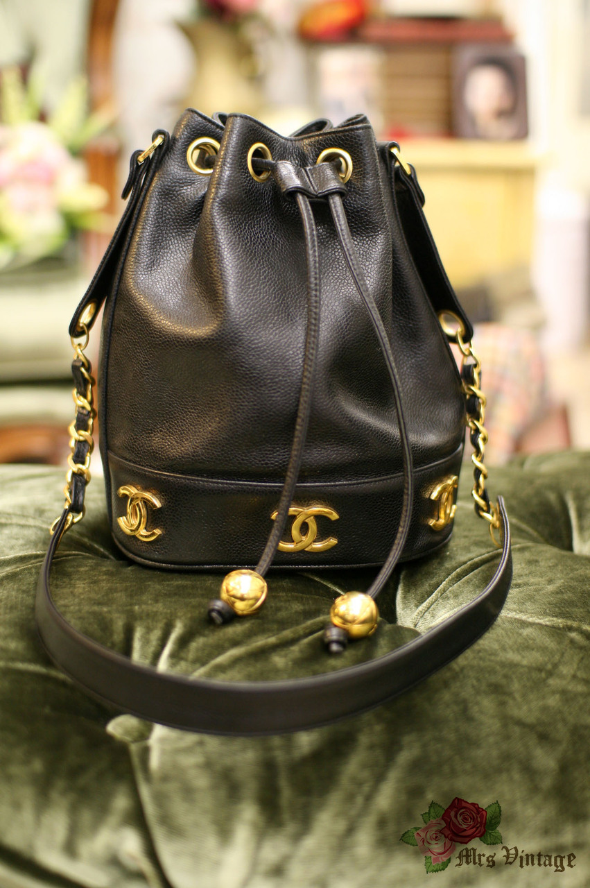 189ed407a0d3 Vintage Chanel Black Caviar Leather Bucket Bag With Golden CC Logo At The  Bottom With Original Pouch Inside