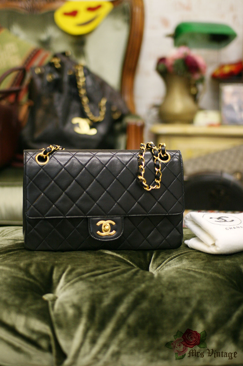 78f0e632fd08e9 Vintage Chanel 2.55 10inch Double Flap Black Quilted Leather Shoulder Bag
