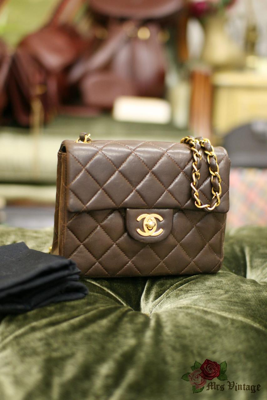 43de52a1a6cd29 Vintage Chanel 7inch Mini Square Flap Brown Quilted Lambskin Leather  Shoulder Bag Rare Colour