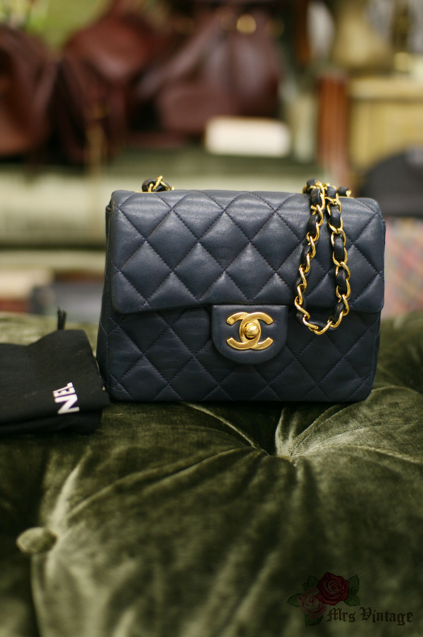 838e54711709 Vintage Chanel 7inch Mini Square Flap Navy Quilted Lambskin Leather  Shoulder Bag