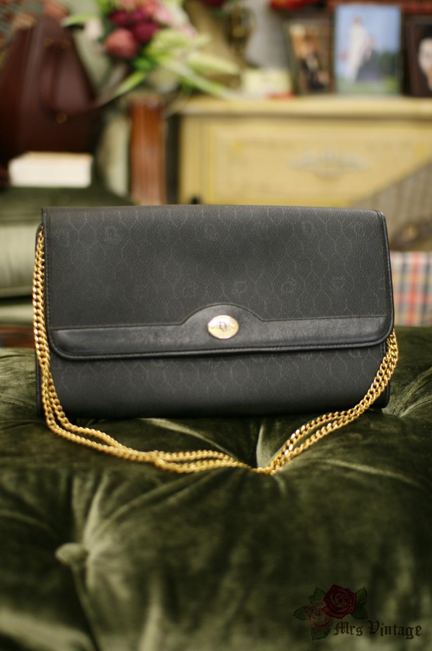 824e466d7e46 Vintage Christian Dior Paris Gold Chain Black Monogram Leather Bag Clutch