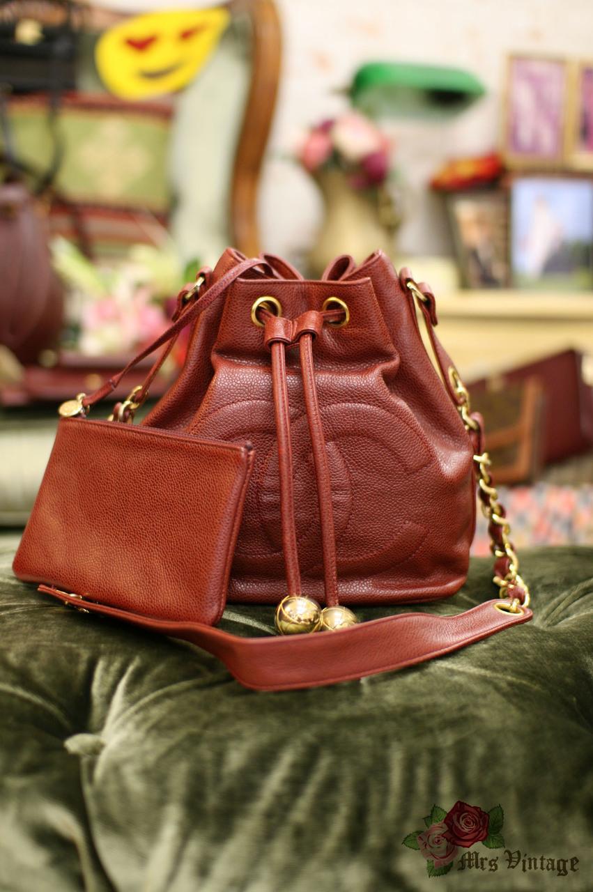 6e8f8273ce68 Vintage Chanel Maroon Colour Caviar Leather Bucket Bag Medium Size RARE