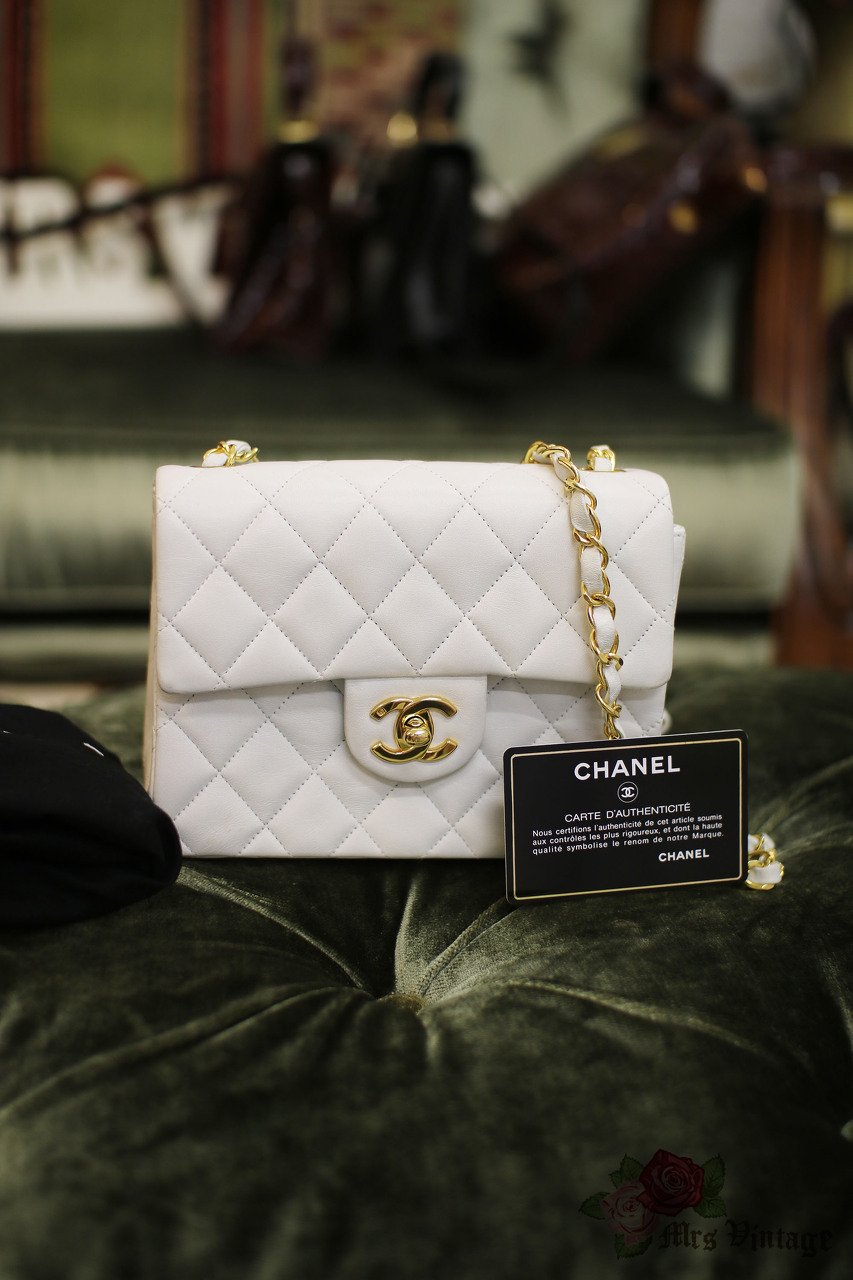 3e15e2b8a2a2a Vintage Chanel 7inch Mini Square Flap Snow White Quilted Lambskin Leather  Shoulder Bag Rare Colour