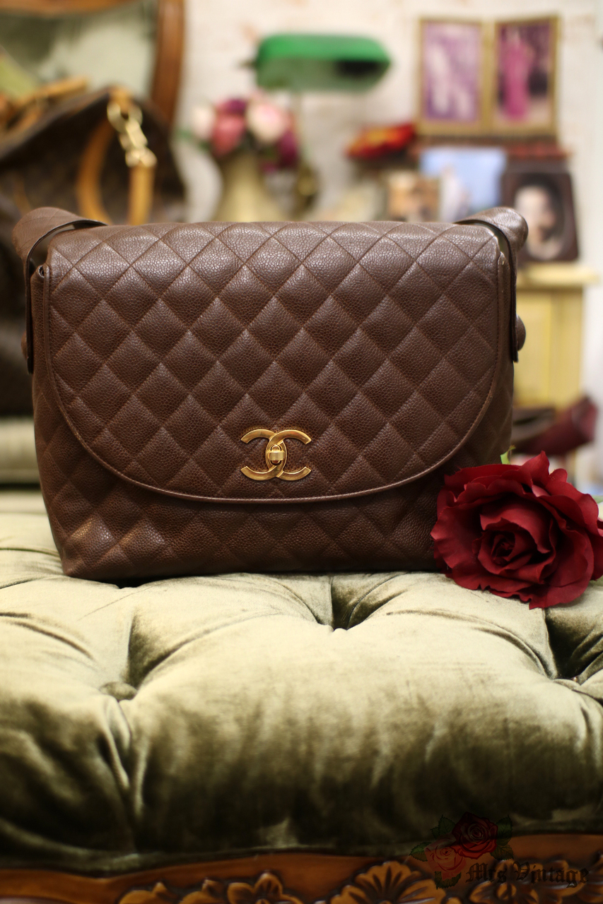 bcb24aee7e4b24 Vintage Chanel Dark Brown Quilted Caviar Leather Shoulder Flap Bag. ITEM  CODE: SOLD OUT