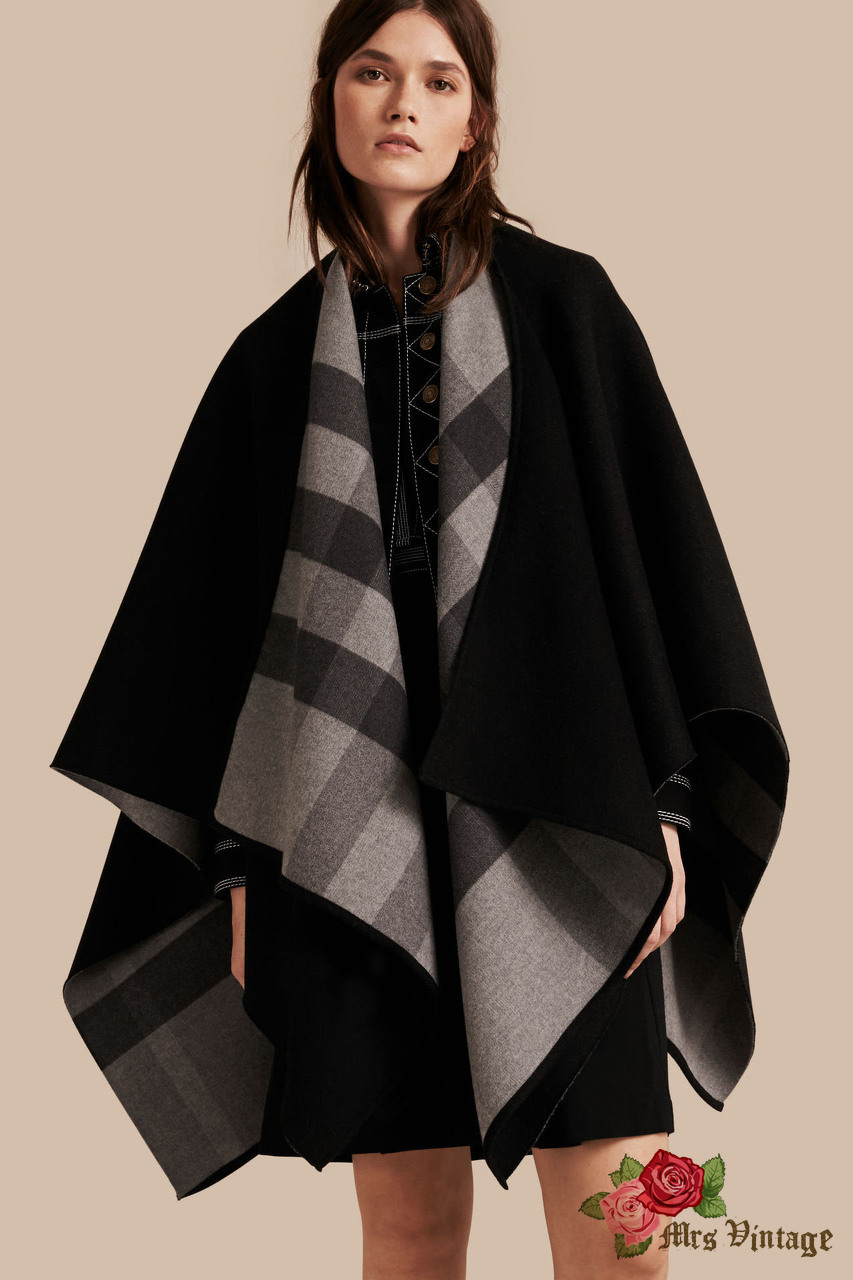 a14802148e3 Burberry Reversible Black x Grey Check Merino Wool Poncho New With Tag  Current Season