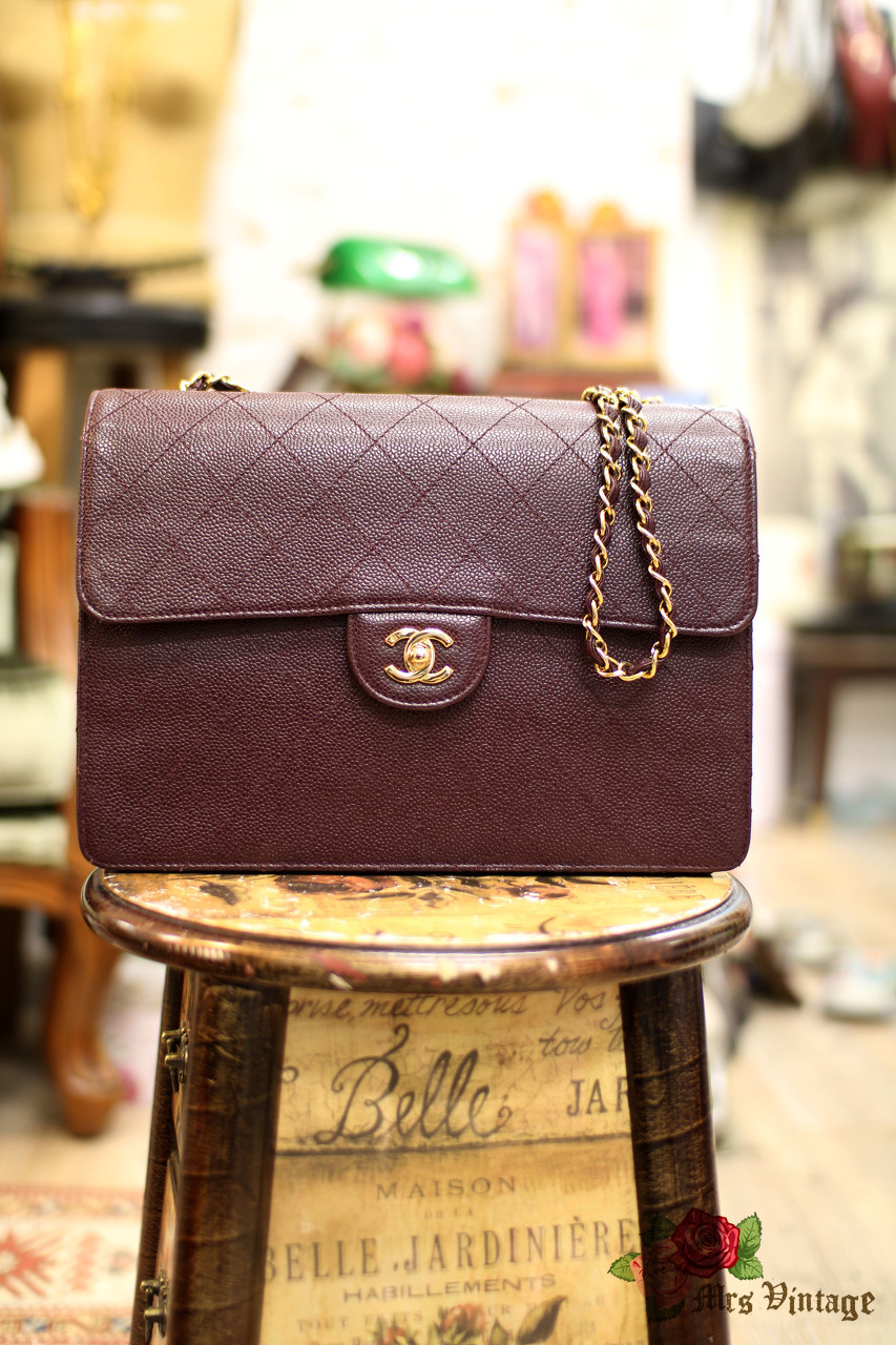 242ef0cae119 Vintage Chanel Burgundy Quilted Caviar Classic Jumbo Bag Rare - Mrs ...