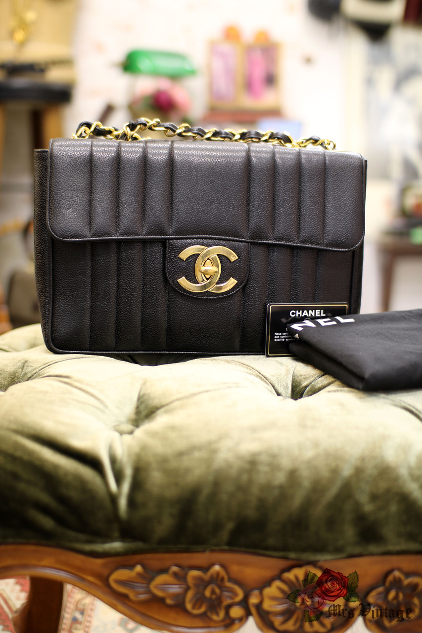 1bad178e4849 Vintage Chanel Black Caviar Vertical Quilted Style Jumbo Flap Bag ...