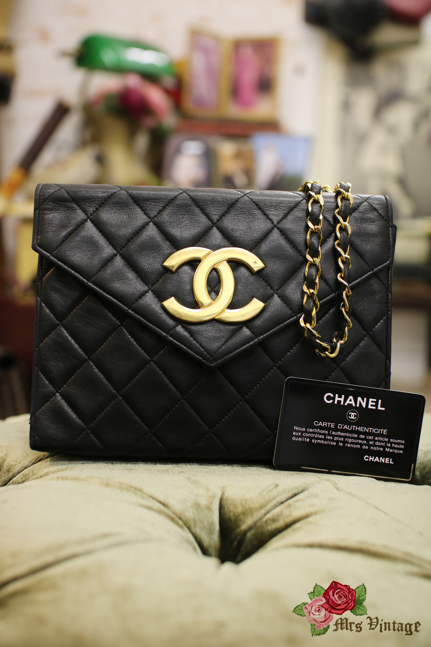 9d61cd4d90b2 Vintage Chanel Black Lambskin Envelope Shoulder Bag with Giant CC Logo  Clutch Style