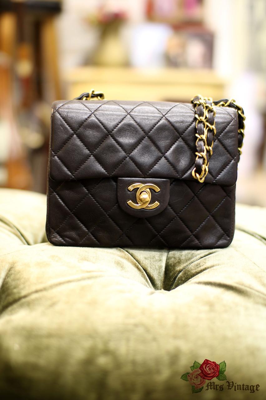 8c5c40bdcf19 Vintage Chanel 7inch Mini Square Flap Black Quilted Lambskin Leather  Shoulder Bag