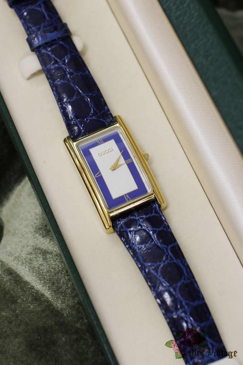 Vintage Gucci Navy Rectangular Shaped Watch with Original