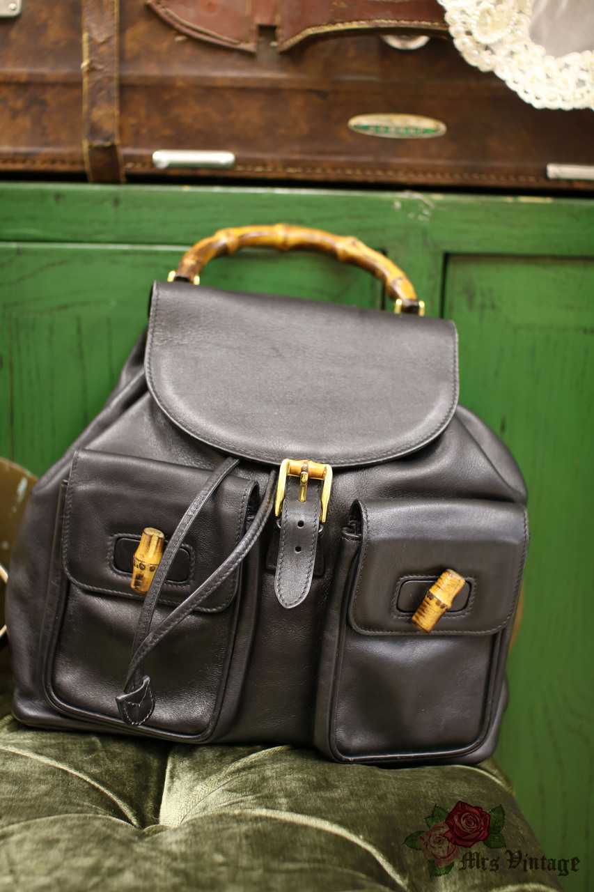 Vintage Gucci Black Leather Large Bamboo Backpack with Gold-tone Hardware 8f0e70d0d3c3d