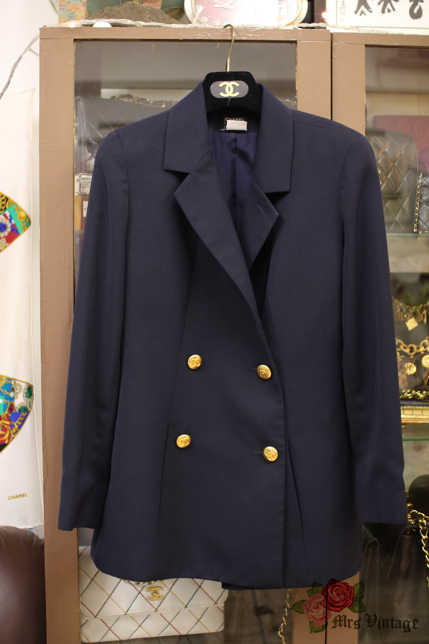 Vintage Chanel Navy Double Breasted Blazer with 1inch CC