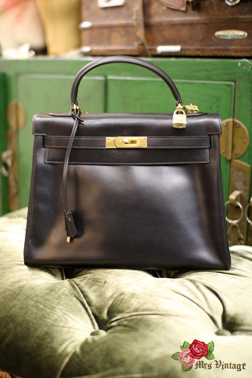 Vintage Hermes Retourne Kelly Bag 32 In Black Box Leather X Golden Hardware  1977 a793eb2ddc
