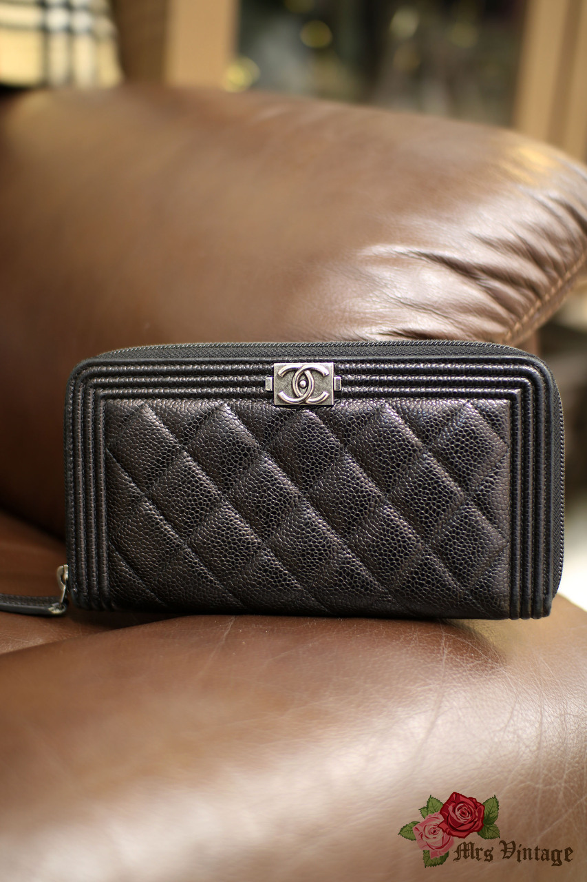 e5afdad63316 Chanel Pre Owned Boy Black Caviar Quilted Leather Zip Around Wallet Small  Clutch Silver Hardware