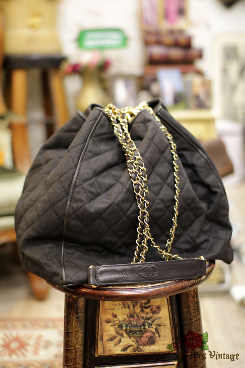 5bc618466060 Vintage Chanel Large Sized Black Leather x Canvas Quilted Bucket Bag ...