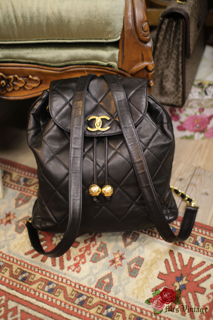 d42ec28b7163 Lovely Vintage Chanel CC Quilted Lambskin Leather Chain Backpack Medium  Size RARE with 2 Golden Balls