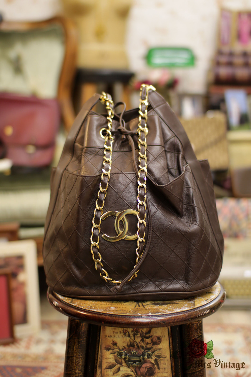 03a4296cab00 Vintage Chanel Rare Deep Brown Lambskin Large Bucket Bag - Mrs ...