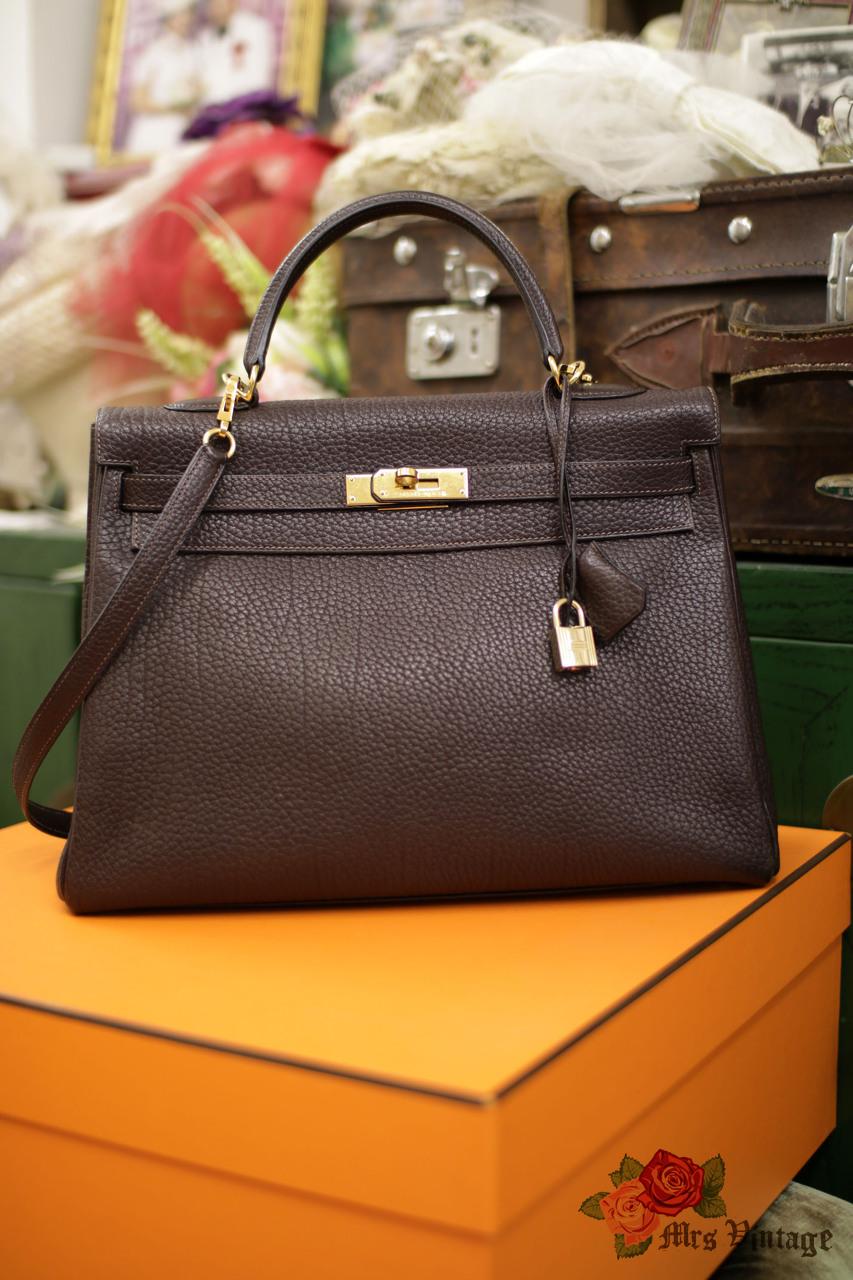 f66f95f86389 Pre Owned Hermes Fjord Leather Retourne Kelly Bag 35 In Chelsnut Brown X  Golden Hardware 2002
