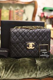 3a445d992b8e Vintage Chanel Jumbo Black Quilted Leather Shoulder Flap Bag 30cm Wide
